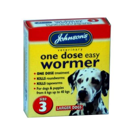 puppy wormer dosage buy johnsons one dose easy wormer for puppies dogs size 3