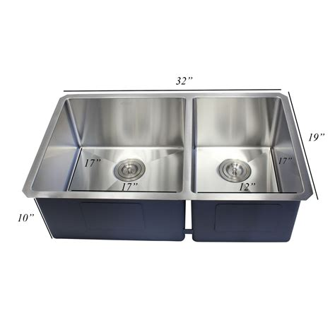 60 40 stainless steel ariel 32 inch 16 gauge undermount double bowl stainless