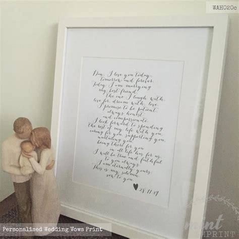 Wedding Vows Anniversary Gift by Wedding Vows Print And Groom Wedding Vows Prints