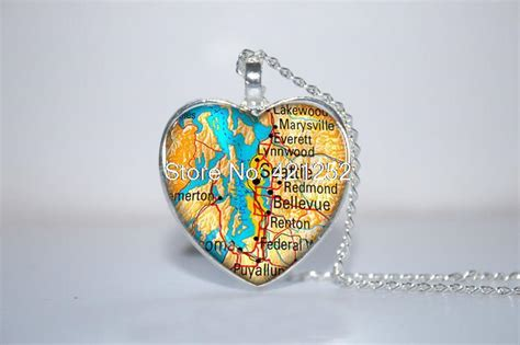 Seattle Giveaways - seattle map pendant seattle art seattle souvenirs washington state heart necklace