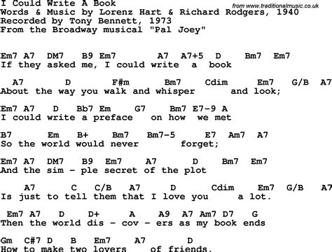 picture book chords song lyrics with guitar chords for i could write a book