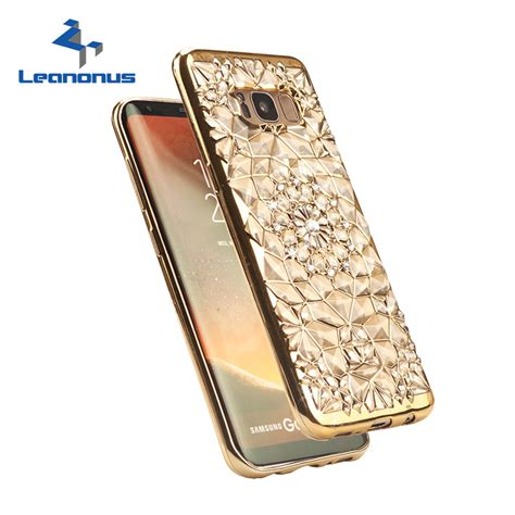 rugged relief gold plating 3d relief rugged flower glitter diamonds phone cases for samsung galaxy s8
