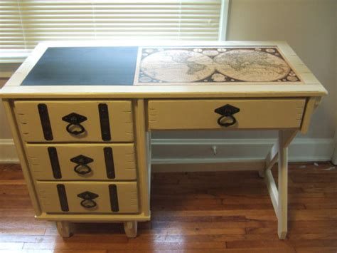 desk painted vintage painted desk with decoupage map by essex cottage