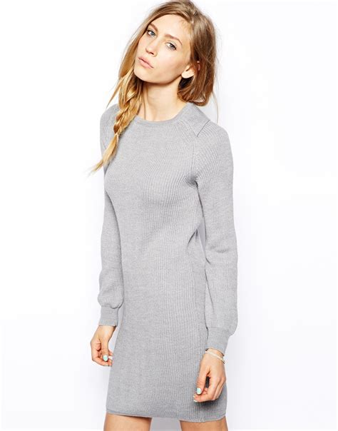 grey jumper patterned sleeves le mont st michel long sleeve sweater dress in gray lyst