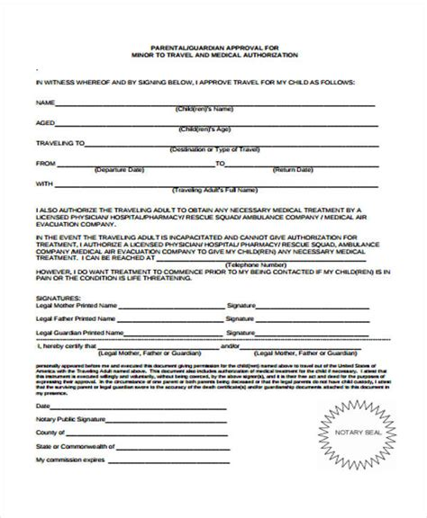 doc 878995 parental consent to travel form child