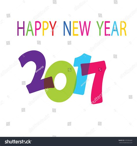 happy new year 2017 text design stock photo 535585669