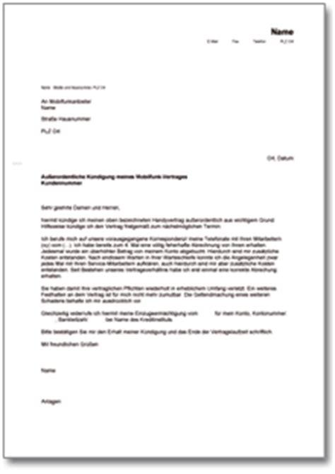 Musterbrief Fristlose Kündigung Au 223 Erordentliche K 252 Ndigung Eines Festnetz Vertrages De Musterbrief