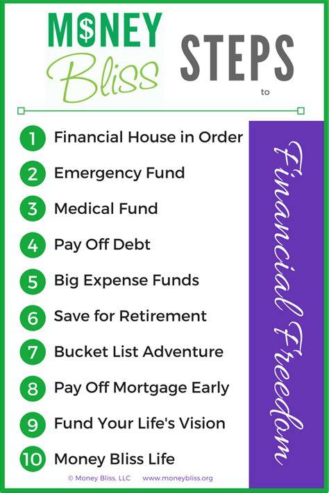 money bliss steps  financial freedom money bliss