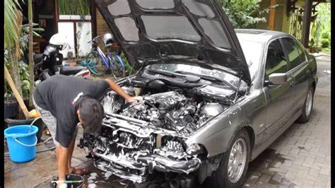 cara mencuci mesin mobil bmw e39 engine bay detailing