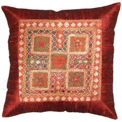 Modern Throw Pillows For Sofa Silk Maroon Accent Sofa Mirror Pillow Cover 16 Quot X 16 Quot Kashmir Arts Craftskashmir