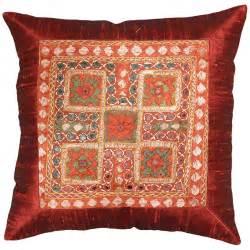 Sofa Accent Pillows Silk Maroon Accent Sofa Zardozi Pillow Cover 16 X 16 Kashmir Pillows
