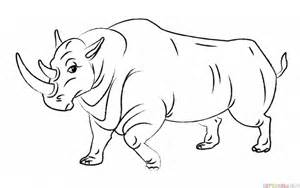 how to draw a realistic rhino how to draw a rhino step by step drawing tutorials