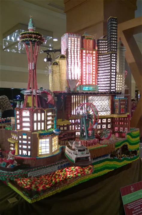 seattle gingerbread houses downtown seattle skyline at annual gingerbread village gingerbread house contest at