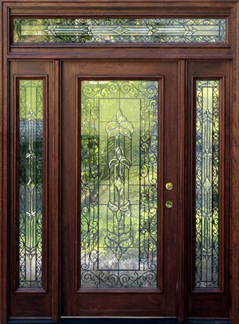 Mahogany Front Door With Glass Mahogany Exterior Doors With Sidelights And Transoms 68 Front Door Doors Front