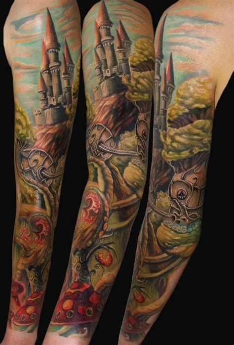 castle full arm tattoo medieval castle tattoos