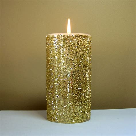 gold glitter pillar candle wedding candles choose 4