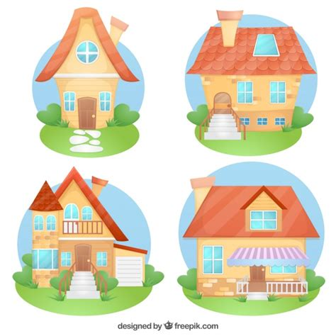 free cartoon house pictures free download house assortment of cartoon houses vector free download