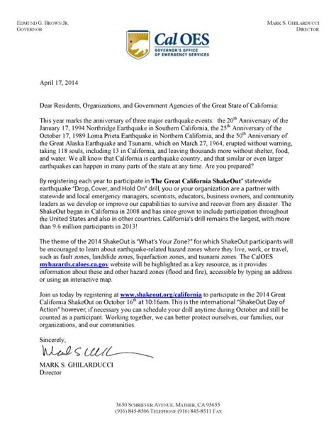 Attestation Letter From Local Government The Great California Shakeout How Local Government Agencies And Offices Can Participate