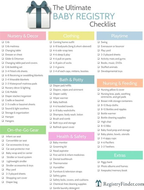 Printable Baby Shower Registry Checklist ultimate baby registry checklist baby registry checklist