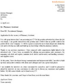 Assistant Cover Letter by Pharmacy Assistant Cover Letter Exle Icover Org Uk