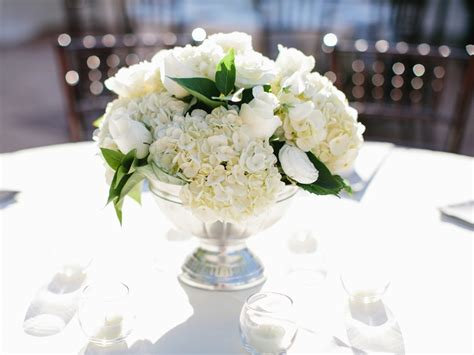 Wedding Flower Centerpieces by Sliver Pedestal White Classic Wedding Flower Centerpiece
