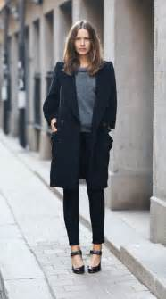 minimalistic look black pea coat cropped pants gray t shirt heels street