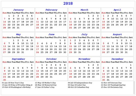 Calendar With Holidays For 2018 2018 Printable Calendar With Us Uk Holidays Printable
