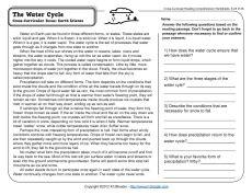 water cycle reading worksheets spelling grammar