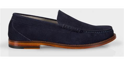 navy mens loafers paul smith s navy suede raymond loafers in blue for