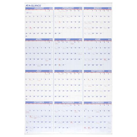 Month At A Glance Calendar At A Glance Wall Calendar Yearly Wall Calendar Hanging