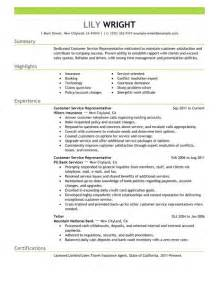 Customer Service Exle Resume by Customer Service Representative Resume Ilivearticles Info