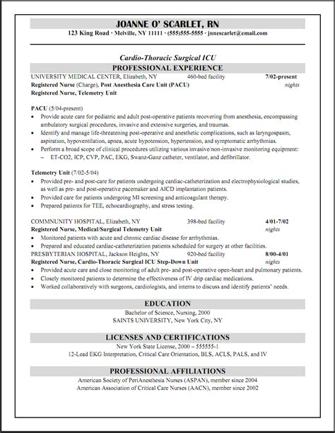 Resume Sample For Nurse by 7 Pacu Nurse Resume Cover Letter Example For Employment