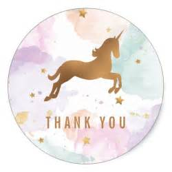 thank you sticker template pastel unicorn birthday thank you classic