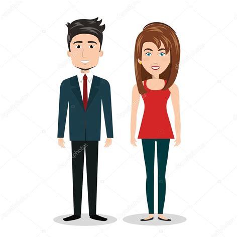 imagenes animadas hombres dibujos animados de hombre y mujer de pie gr 225 fico de