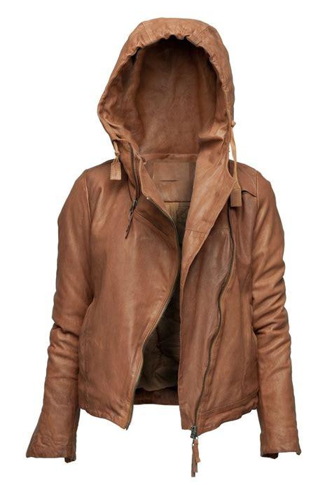 Jaket Hoodie womens hoodie jacket brown color hooded leather jacket on luulla