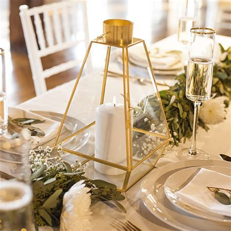 Personalized Geometric Candle Lantern Table Centerpiece