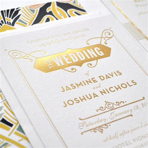 wedding invitations gold foil gold foil wedding invitation gatsby wedding invitation