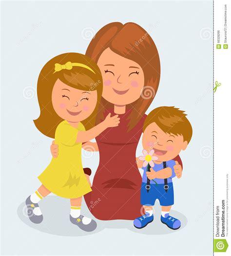 imagenes de amor para niños madre que se arrodilla abrazando su hija e hijo el
