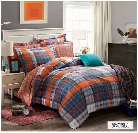 blue and orange comforter set dreaming blue grey black orange plaids bedding set cotton