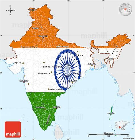 India Outline Map Coloured by Flag Simple Map Of India Single Color Outside