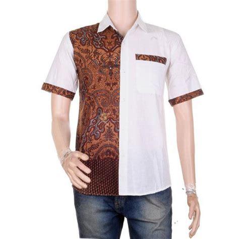 Baju Kemeja Putih Pria Lengan Pendek baju pria atasan hem lengan pendek batik kombinasi putih alvan elevenia