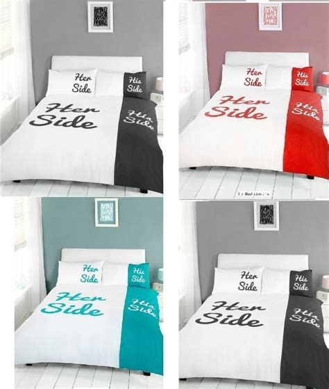 her side his side bedding her side his side duvet quilt cover bedding set with