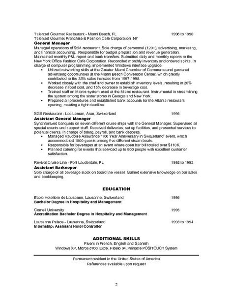 Resume Sle For Restaurant Assistant Manager Resume Exles Restaurant Manager Resume Sle Free Restaurant Assistant Manager Resume