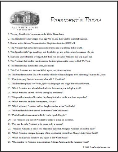 presidential trivia games are very popular because of who