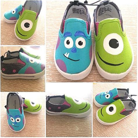 custom painted shoes monsters inc slip ons glitter all