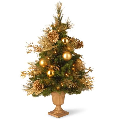 3ft everyday collections potted feel real artificial christmas tree national tree company 7 1 2 feel real frosted artic spruce hinged artificial tree with