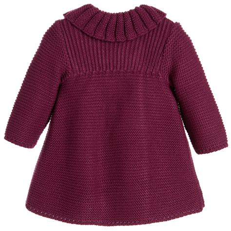 knitted coat foque baby burgundy knitted coat bonnet