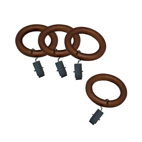 wood curtain rings with clips shop allen roth 7 pack mahogany wood curtain rod clip