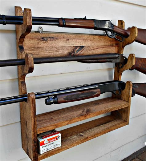solid wood gun cabinet gun rack solid oak holds 3 guns with shelf by