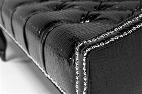 Www Roomservicestore Com Mademoiselle Sofa In Faux Black Patent Leather Sofa